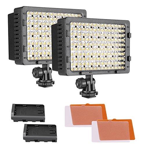 Neewer 2-Pack 160 LED CN-160 Dimmbare Ultra Hoch Power Panel Digitalkamera/Camcorder Video Licht, LED Licht für Canon, Nikon, Pentax, Panasonic, SONY, Samsung und Olympus Digital SLR Kameras
