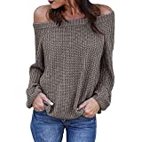 Oberteile Damen Sexy Sonnena Rundhals Schulterfrei Party Top Bluse Frauen Slim Fit Langarm T-Shirt Casual Schöne Gestrickt Oberteile Elegante Freizeit Stricke Tanktops (M, Grau Sexy)