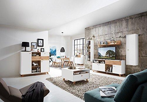 Anbauwand, Wohnwand, Schrankwand, Fernsehwand, Wohnzimmerschrank, Wohnzimmerschrankwand, Eiche, Navarra, Pinie, weiß, modern, Retro - 5