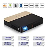 3D DLP Pico Bluetooth Projector Wireless 2000 Lumen Portable Business Presentation Projector HD 1080P 802.11ac WiFi Airplay iPad Smartphone Proyector Built-in Batery for Education Home Theater Outdoor