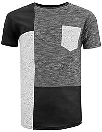 a6d39d0a2 Soulstar Men's Marl Colour Block Short Sleeve Summer T-Shirt Tee Top Size  Black XL