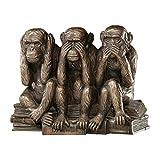 Design Toscano Singes Maléfiques Sourds, Aveugles, Muets Statue d'Animal Figurine des Trois Vérités de l'Homme, 17.75 cm, polyrésine, Bronze couleur