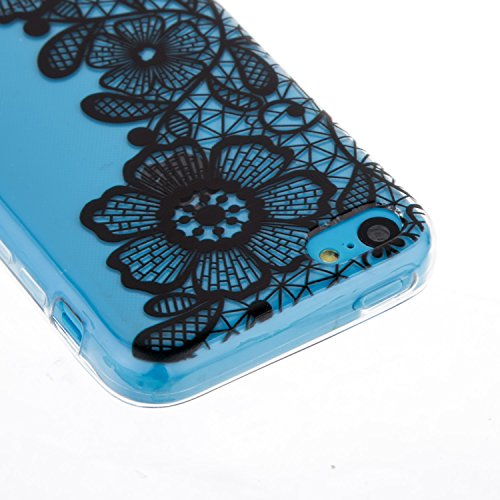 Coque Housse Etui pour iPhone 5C, iPhone 5C Coque en Silicone, iPhone 5C Slim Coque Transparent Soft Etui Housse, iPhone 5C Silicone Case TPU Protective Gel Cover Skin, Ukayfe Etui de Protection Cas e Trois grandes fleurs
