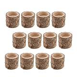FLAMEER Kerzenständer Kerzenhalter Landhaus Stil Holz Teelichthalter Set - 12 Stück