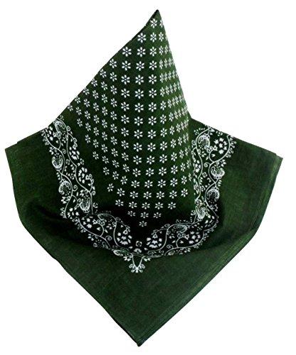 5f42636789d0 Teichmann Grünes Nickituch mit schönem Blumen-Muster und Bordüre   Bandana  aus 100% Baumwolle