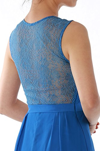 MACloth Women Straps V Neck Lace Chiffon Long Evening Formal Gown Prom Dress Blau