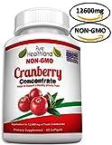 GMO-Frei Cranberry Konzentrat Ergänzungen Kapseln für Harnwegsinfektion Harninfekt. Entspricht 12.600 mg Frische Moosbeeren! Fördern Sie die Gesundheit von Nieren, Harnwegen und Blase