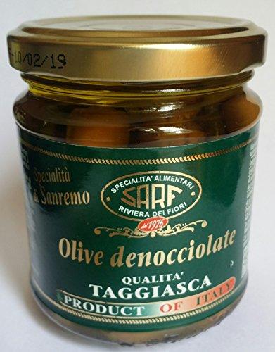 """Olives dénoyautées dans l'huile, de haute qualité """"Taggiasca"""" 185gr. des spécialités italiennes"""