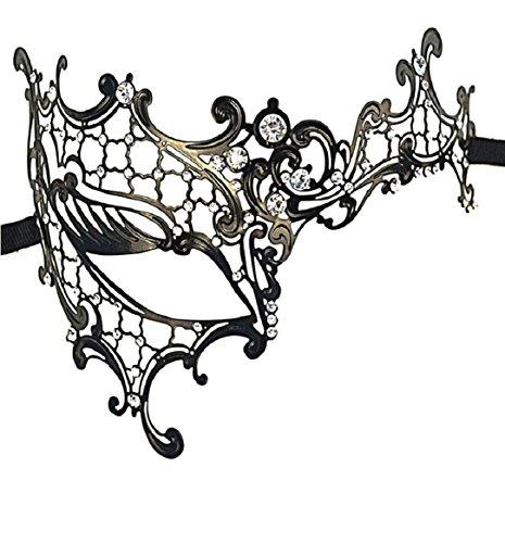 Masken Maskerade Jungs (Tongshi Strass Metall filigran venezianische Gold Silber weiße Maskerade Maske Karneval Party Auge Hochzeit)