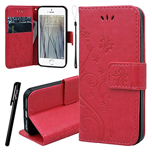 WE LOVE CASE iPhone SE 5/ 5S Hülle Schutzhülle , iPhone SE 5 5S Lederhülle Im Retro Style Muster Tasche Handytasche Backcover Stoßfest Protective Bumper Case Cover Brieftasche Kartenfächer Karten Slot Rot