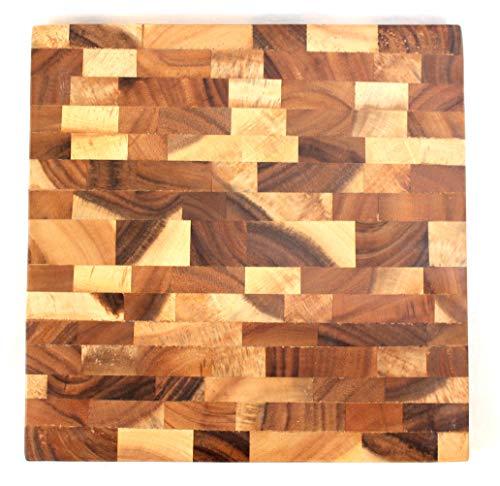 dekoundmeer Schneidebrett quadratisch aus Akazie Stirnholz 305 x 305 x 30 mm fair Trade Product