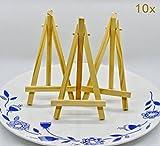 Syoo 10 x Kleine Holz Tafel Display Staffelei Namen Karten Halter Platzkartenhalter Foto Bilder Memo Stand, Tischdeko für Hochzeit Geburtstag Party Taufe Babyparty Gartenparty Baby Shower