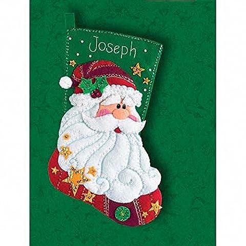 (D08124) - Dimensions Felt Applique - Stocking: Sequined Santa