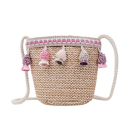 Hmeng Stroh Tasche Damen Umhängetasche Sommer Crossbody Tasche Frauen Weberei Eimer Tasche Strand Geldbörse Und Handtaschen Reißverschluss Crossbody (Pink)