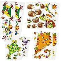 com-four® 8 Partes de Ventana de otoño con Diferentes Motivos [la selección varía], Adhesivos de Ventana Decorativos, lámina de Ventana estática adherida (08 Piezas - Motivos de otoño)