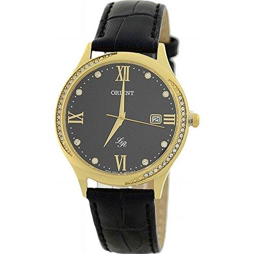 ORIENT Femme 36MM Bracelet Cuir Noir Quartz ANALOGIQUE Montre FUNF8003B0
