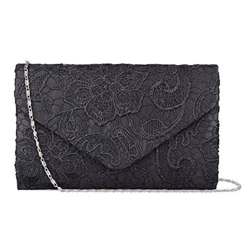 Baglamor Frauen Elegante Spitze Umschlag Clutch Geldbörsen Abend Prom Handtasche für Party und Hochzeit Anlässe (Schwarz)