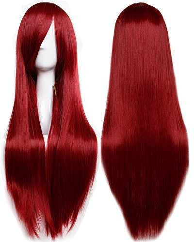 S-noilite 32″ (80cm) New Fashion Long Straight Wine Red Full Hair Wig Heat Resistant Lady Cosplay Anime Daily Party Dress Women Wigs