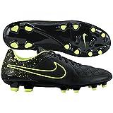 Nike Herren Tiempo Genio Leather FG Fußballschuhe, Schwarz/Grün (Schwarz/Schwarz-Volt), 40 1/2 EU