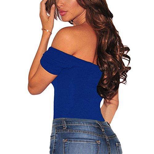 Lrud Damen Bodysuit Off Schulter Langarm Trikot Top Overall Blau