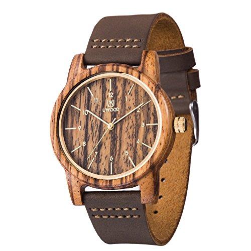 Reloj Madera Hombre, MUJUZE Natural De Madera Del Reloj De Cuero Reloj Único Texturas Regalos De Aniversario(Zebra)