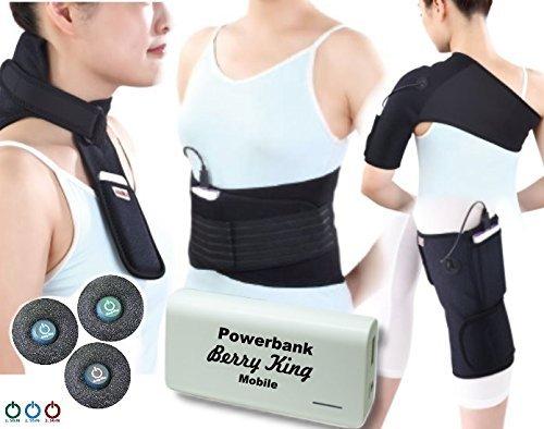 BerryKing Heating Pad inkl. Akku Powerbank Mobil Kabellos Wireless Perfekt für Unterwegs Wärmepflaster Wärmepad Wärmespender Wärmebehandlung / Kältebehandlung Wiederverwendbar - therapeutische Wärmebehandlung in 3 Stufen - verschiedene Modelle und Größen (S/M, Rücken)