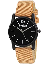 Evelyn Danim Black Dial Orange Strap Stylish Analogue Watch For Girls-Eve-555
