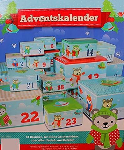 Adventskalender 24 Kästchen zum selber Basteln und Befüllen (Bär) (Schuhkarton-geschenke Für Weihnachten)