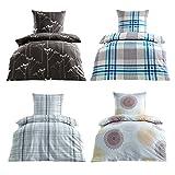 Bügelfrei Seersucker Bettwäsche 2 oder 4 teilig 100% Baumwoll 135x200 cm + 80x80 cm, 4 tlg. Design Kendra