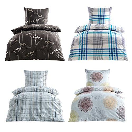 Bügelfrei Seersucker Bettwäsche 2 oder 4 teilig 100% Baumwoll 135x200 cm + 80x80 cm, 4 tlg. Design Kati natur Protex Design