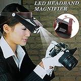 Origlam manos libres diadema 10x lupa con LED luz, montado en la cabeza lupa cabeza lupa lente de gafas para leer, lupa joyería, reloj, electrónico reparación de artesanía
