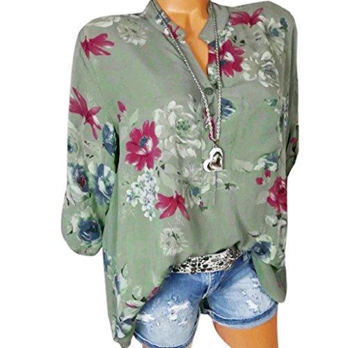 Rovinci Sommer Langarm T-Shirt Damen Chiffon Bluse Stehkragen Top Plus Size Frauen Blumendruck Button-Down Blusen Hemdbluse Elegante Lose Leinen Langarmshirt Longshirt Hemd Tee Shirt (S, Grün)