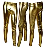 Palleon Damen Leggings in Lack Optik S/M / Gold