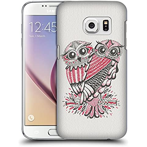 Ufficiale Cat Coquillette Gufi grigi rossi Uccelli Cover Retro Rigida per Samsung Galaxy S7