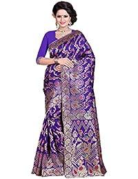 Sarees Pehnavaa Women's Banarasi Silk Purple Jaal Sarees