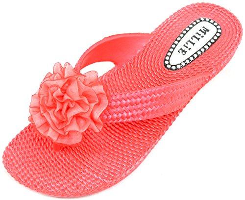 Ciabatte da donna, sandali flip flop ideali per l'estate, le vacanze, la spiaggia, con fiore centrale decorativo Red