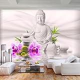 decomonkey | Fototapete Buddha Orient 400x280 cm XL | Tapete | Wandbild | Wandbild | Bild | Fototapete | Tapeten | Wandtapete | Wanddeko | Wandtapete | Zen Blumen Orchidee Pflanzen weiß violett
