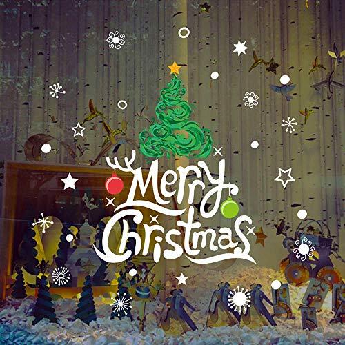 Zbzmm Frohe Weihnachten Schneeflocke Weihnachtsbaum Fenster Aufkleber PVC Entfernbare Wandaufkleber Weihnachtsschmuck für Abziehbilder 90x60 cm (Größe Leben Weihnachtsschmuck)
