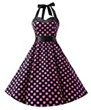 Dresstells Neckholder Rockabilly 50er Polka Dots Punkte 1950er Kleid Petticoat Faltenrock Black Pink Dot 2XL