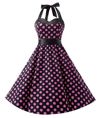 Dresstells Neckholder Rockabilly 1950er Polka Dots Punkte Vintage Retro Cocktailkleid Petticoat Faltenrock Black Pink Dot 3XL