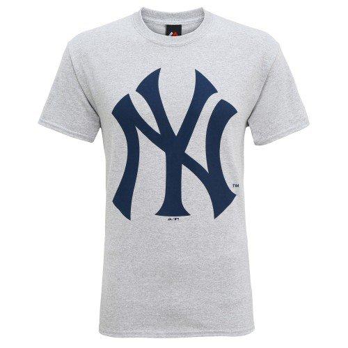 Producto oficiales de deportes americanos - Camiseta de manga corta con el logo New York Yankees hombre caballero (Grande (L)/Gris)