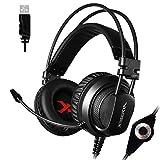 Tlgf Gaming-Kopfhörer Stereo Over-Ear Headset Mit Mic, Für Computerspiel Mit Geräuschkarton & Lautstärke-,1 Dolby Surround,5Mm Mit Beleuchtung
