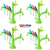 DeoDap's Fancy Bird Fork | Fancy Fork |Tree Shape Holder Rack | Cutlery Set | Fork Set For Kids | Fork Set With Stand | Forks Set | Fork Stand | Fork Stand | Fork For Babies | (Pack Of 4)
