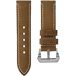 Uhrenarmband StrapJunkie Echtes Leder Vintage Design Hellbraun 24mm