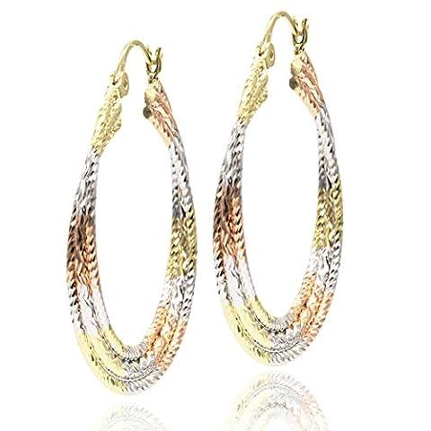 Juvel-Jewelry Schmuck Ohrringe Braun Gold plating klassische edle Ohrringe Hoop für Mädchen