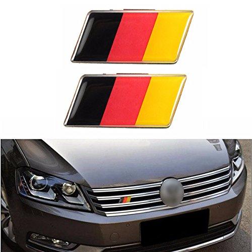JenNiFer 2 Unids Aluminio Alemania Alemania Bandera Insignia Parrilla Emblema Calcomanía Universal Decoración