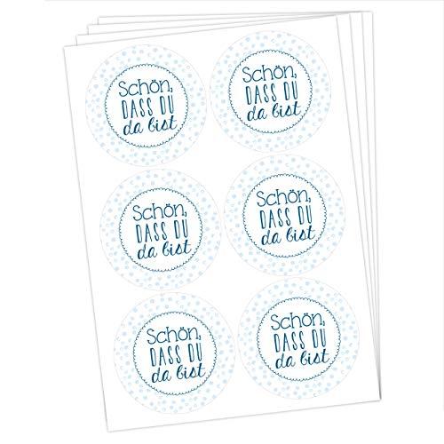 de Sticker zu Taufe und Kommunion - Aufkleber zur Dekoration von Gastgeschenken - Schön DASS du da bist (blau) Set 5 ()