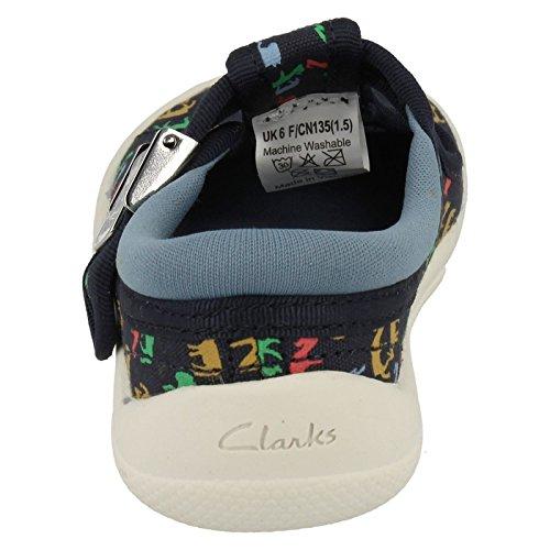 Clarks Briley Lad Jungen Leinwand Low Top Schuhe Blau
