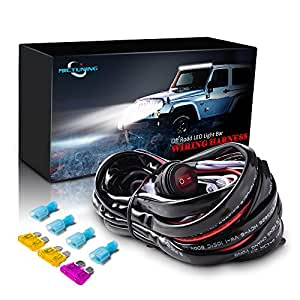 MicTuning LED Light Bar Kit di Cablaggio,12V 40A Fusibile Relè Cavi Fendinebbia Cablaggio Auto On-Off Interruttore Impermeabile per Barra Cabina Barca-ATV Camion SUV e Moto