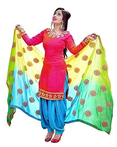 Kamnath Fashion Embroidered Party Wear Punjabi Patiala Salwar Suit Dress Material for Girls/Women Free Size Unstitched Pink Color